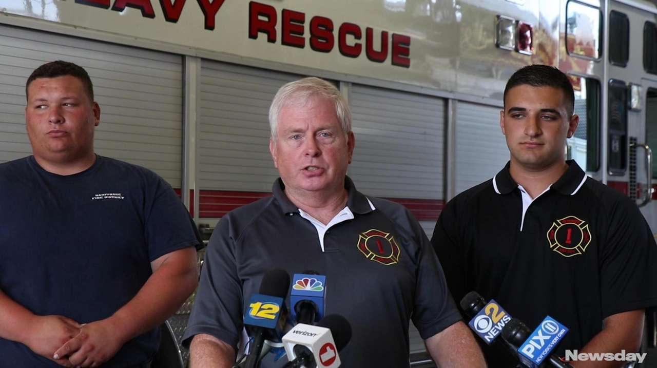 Hauppauge firefighter Larry Kunzig explains how he sprang