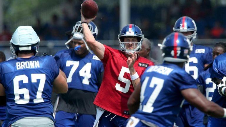 On Tuesday at Giants training camp, quarterback Davis