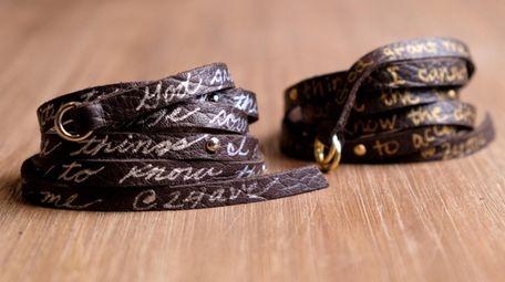 A Serenity Wrap, a hand-cut nappa leather bracelet,