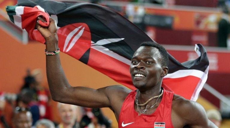 Kenya's Nicholas Bett celebrates after winning the men's