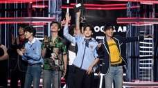 BTS accepts the award for top social artist