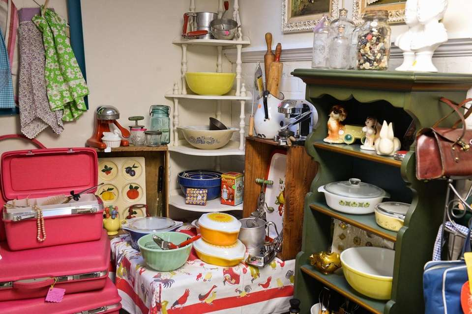 Vintage furniture and housewares on display at Rosie's