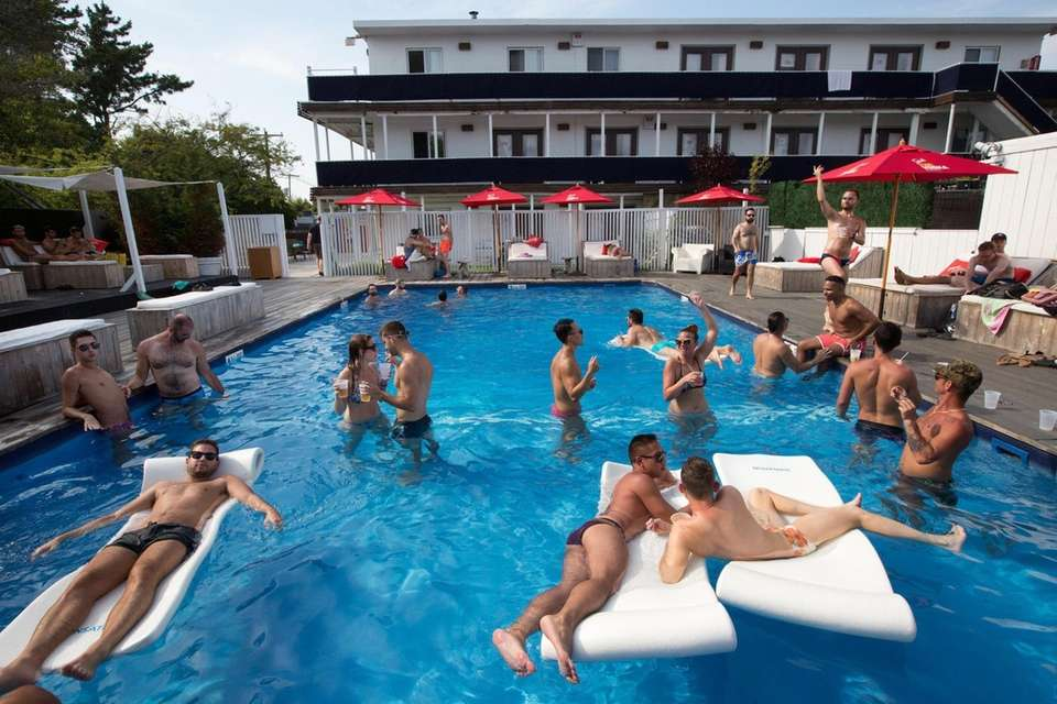 Visitors to the Pines use the pool at