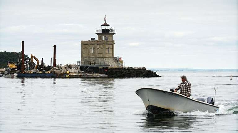 Huntington Lighthouse is undergoing restoration of the foundation,