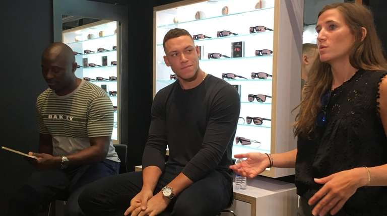 Yankees outfielder Aaron Judge appears at an event