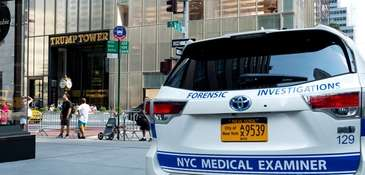 A New York City forensics vehicle rests near
