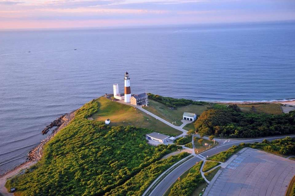Montauk Point Lighthouse shortly after sunrise Monday morning.