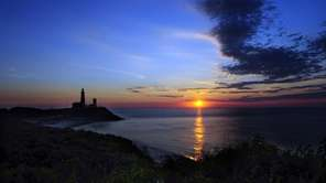 The lighthouse during sunrise at Montauk Point on