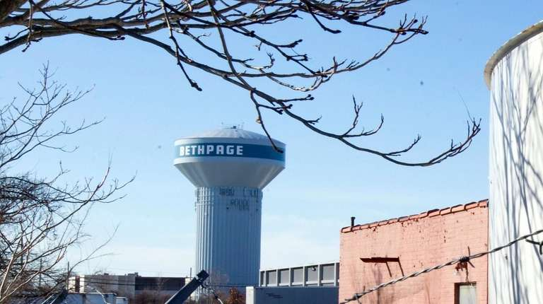 View from Thomas Avenue with Bethpage water tower