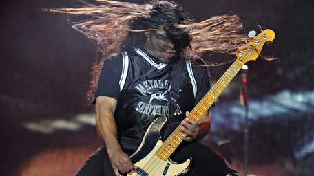 Bass guitarist Robert Trujillo of Metallica performs during