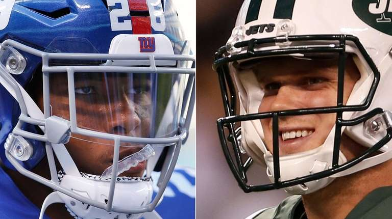 Giants running back Saquon Barkley and Jets quarterback