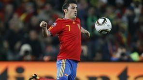 Spain's striker David Villa controls the ball during