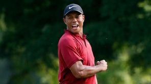 Tiger Woods celebrates after making a birdie putt