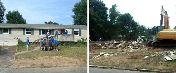 Before and after the demolition of the Lutz