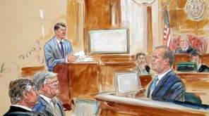 This courtroom sketch depicts Rick Gates, right, testifying