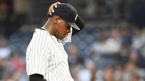 Yankees starting pitcher Luis Severino reacts on the