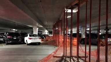 The Hicksville LIRR parking garage, shown on April