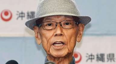 Okinawa Gov. Takeshi Onaga speaks during a news