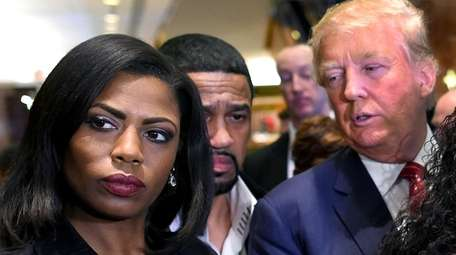 Omarosa Manigault Newman with then-Republican presidential candidate Donald