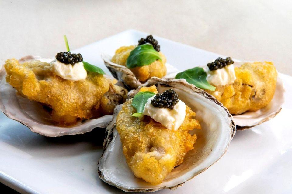 Tempura Local Sexton Island oysters, créme fraîche, caviar,