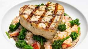 Grilled Marinated Swordfish with a Lobster Risotto, Broccoli