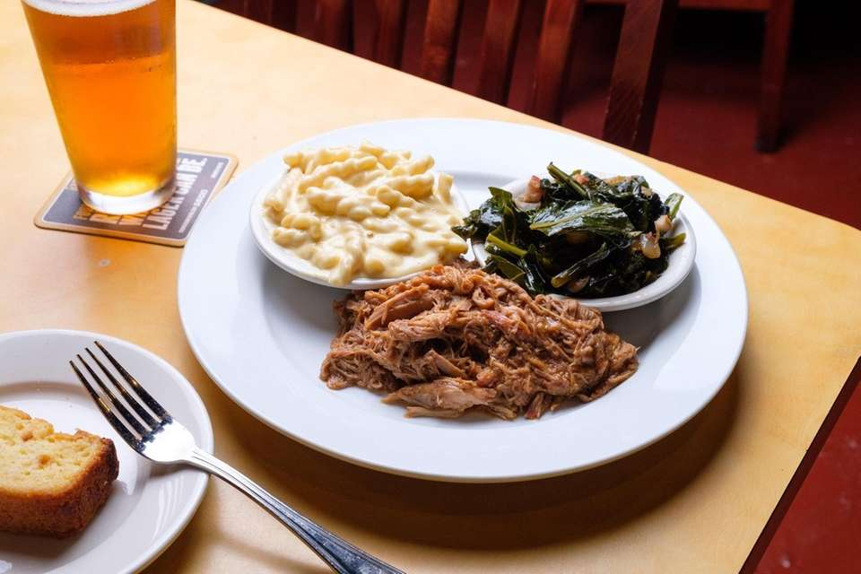 A plate of the Carolina pulled pork with