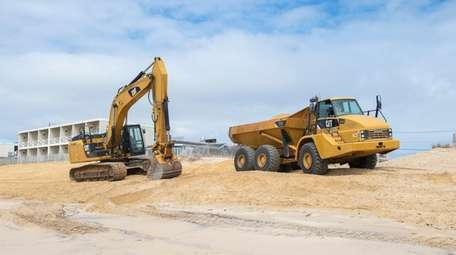 Workers used heavy machinery in May to complete