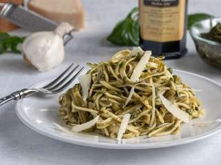 Pesto made from basil, almonds, Parmesan cheese and