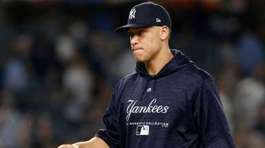 Aaron Judge of the Yankees celebrates on the
