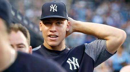 Aaron Judge of the Yankees looks on from