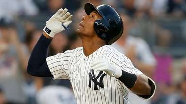 Miguel Andujar of the Yankees celebrates his second