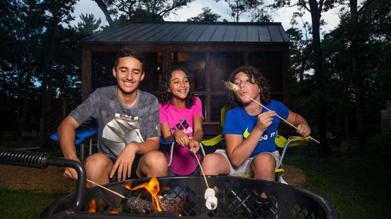 James DeFilippis, 15, left, and twins Ellie and