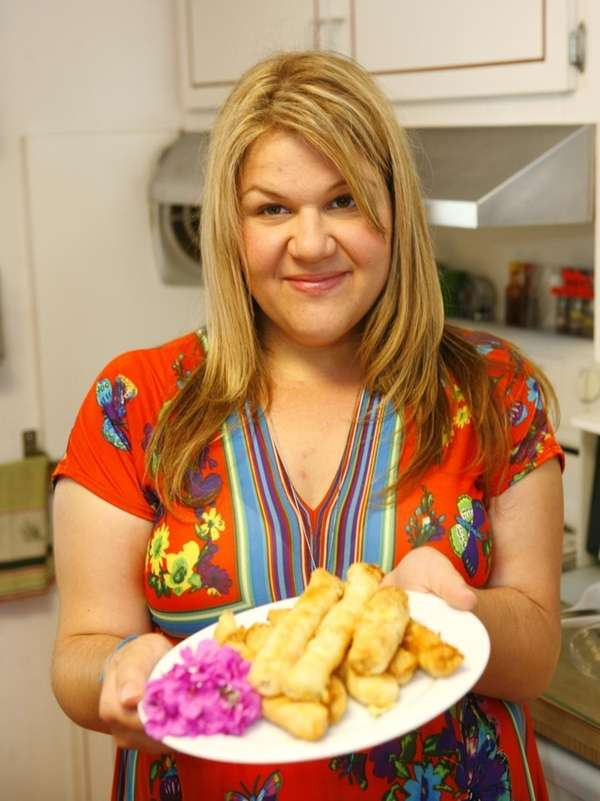 Chrisa Schmerler shows off her Filo dish on