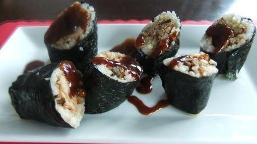Pulled pork sushi roll at Dom & Luigi's