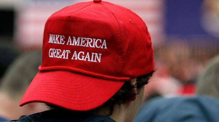 President Donald Trump's motto emblazoned in a red