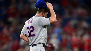Mets pitcher Steven Matz walks off the mound