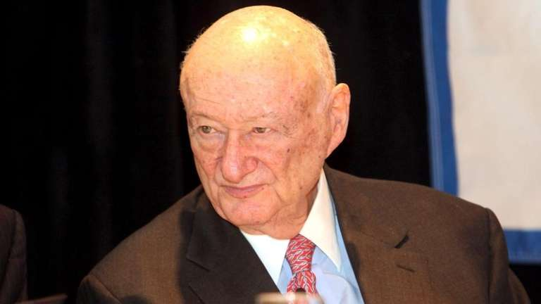 Former NYC Mayor Ed Koch, speaks at an