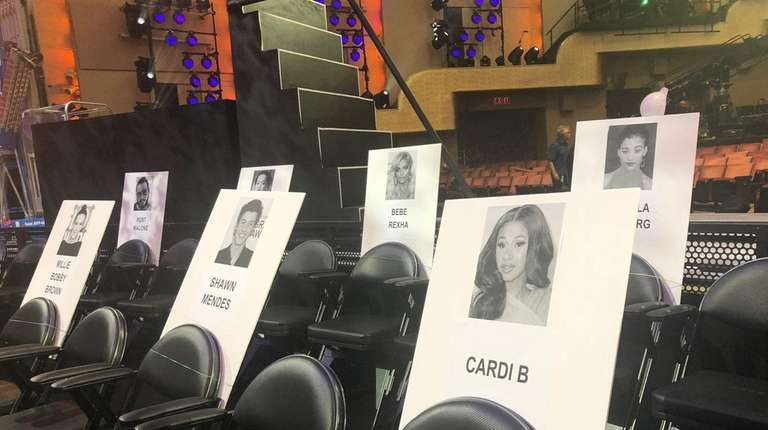 Celebrity seat cards are in place at Radio