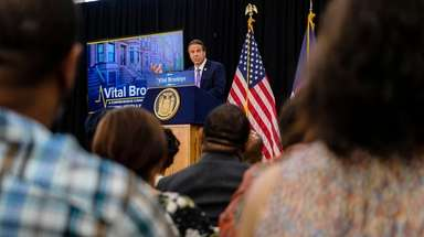 Governor Andrew Cuomo makes an announcement about healthcare,