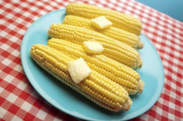 Stock image of corn on the cob with