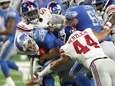 Lions quarterback Jake Rudock is sacked in the
