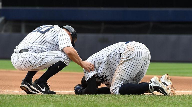 Yankees shortstop Didi Gregorius is down on the