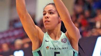 Liberty's Kia Nurse shoots from three-point range against