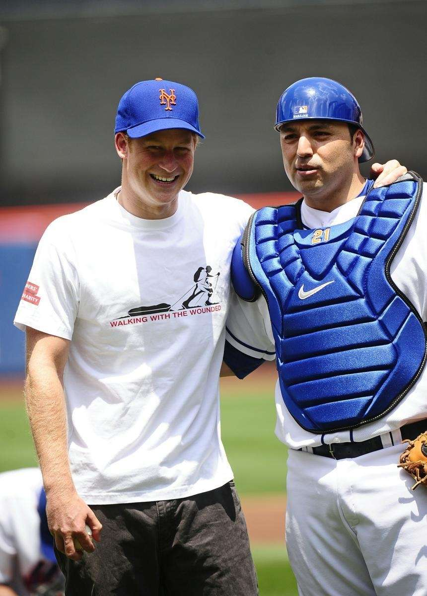 Prince Harry with New York Mets catcher Rod