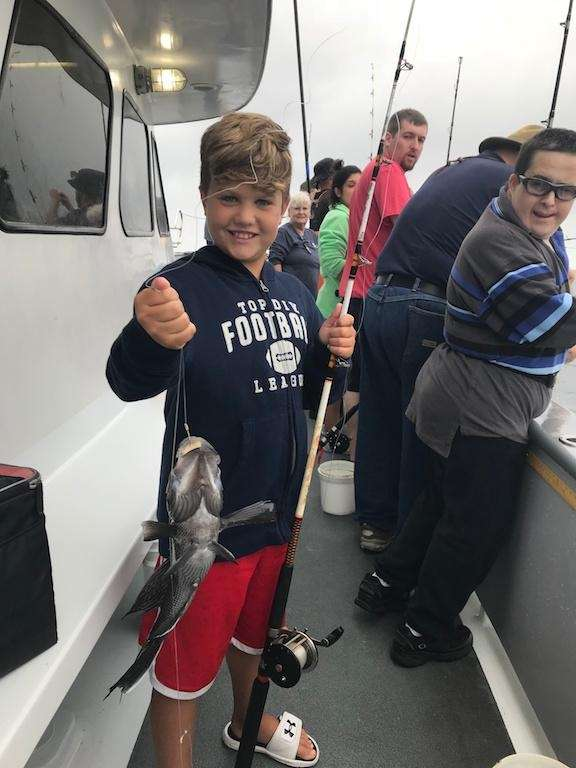 Christian Creaven-Tintella, 9, reeling it in on the