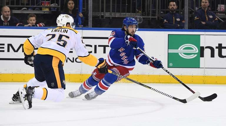 Rangers right wing Mats Zuccarello skates with the