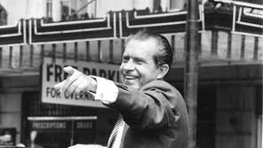 Richard Nixon campaign in car on July 14,