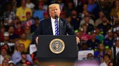 President Donald Trump speaks during a rally Tuesday
