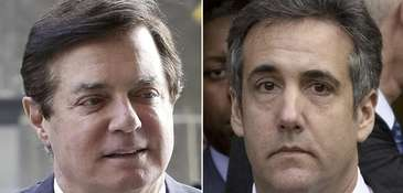 Former Trump campaign manager Paul Manafort, left, was