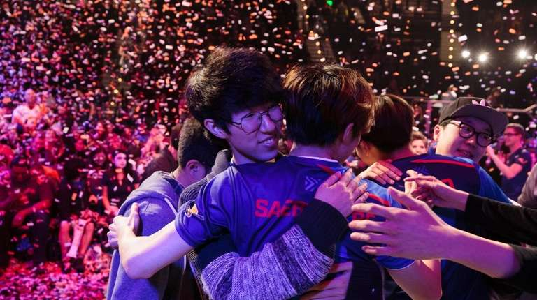 New York Excelsior, celebrating an Overwatch tournament victory